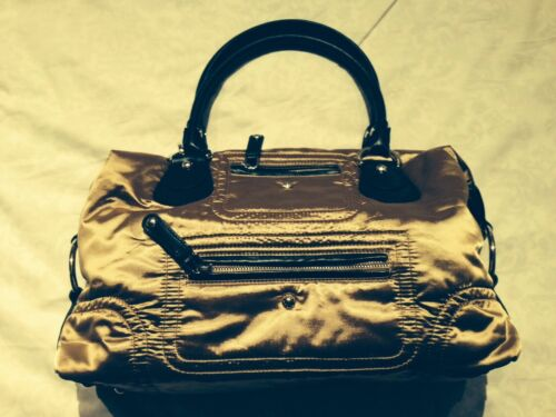 New Tod's Fashionable Nylon Gold Party Bag With Brown Leathe