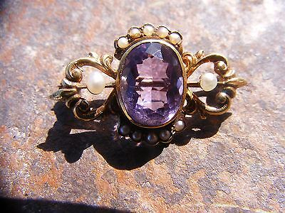 Victorian Edwardian 14K yellow gold amethyst pearl brooch pin