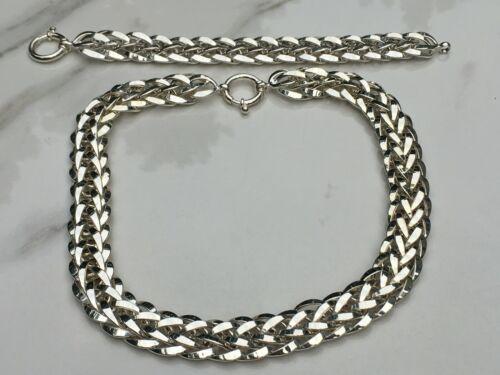 Sterling Silver Wide Fancy Braided Link Necklace & Bracelet Set    70 Grams