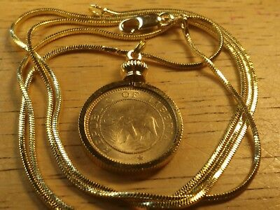 1937 African Elephant Charm Fashion Coin Necklace on a 24