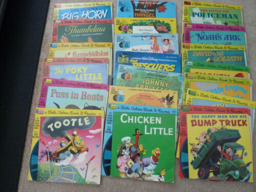 Lot Of 20 Disneyland Little Golden Book & Record Vinyl 33 1/3