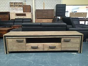 WAREHOUSE ENTERTAINMENT UNIT AND MATCHING DINING TABLE Leumeah Campbelltown Area Preview