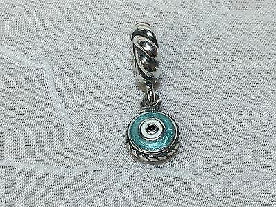 AUTHENTIC PANDORA STERLING SILVER 925 BLUE/ WHITE EVIL EYE DANGLE BEAD CHARM
