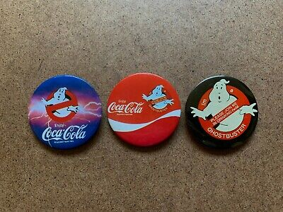 VINTAGE GHOSTBUSTERS COCA COLA BUTTON PIN LOT OF 3