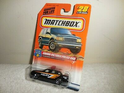 1998 MATCHBOX TO THE RESCUE BLACK UNIT 22 CROWN VICTORIA POLICE CAR  # 28