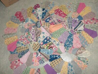 """16 Vintage Feed Sack Hand Pieced 12""""  Aster Quilt Pieces  for sale  Shipping to Canada"""