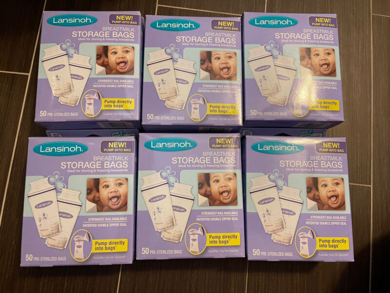 6 Box New LANSINOH BREASTMILK FREEZER STORAGE BAGS x50  ~  BPA FREE 300 Total