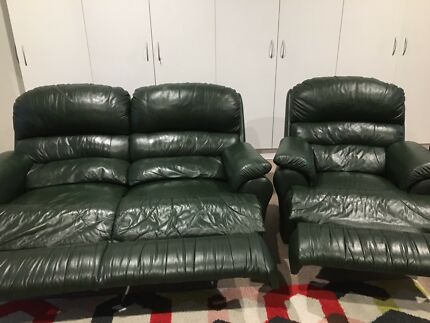 2 seater and single leather recliners