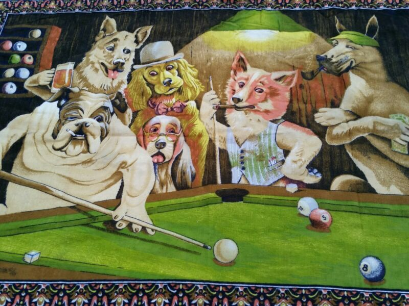 Vintage Rare Dogs Playing Pool Billiards Wall Tapestry Beautiful Condition!