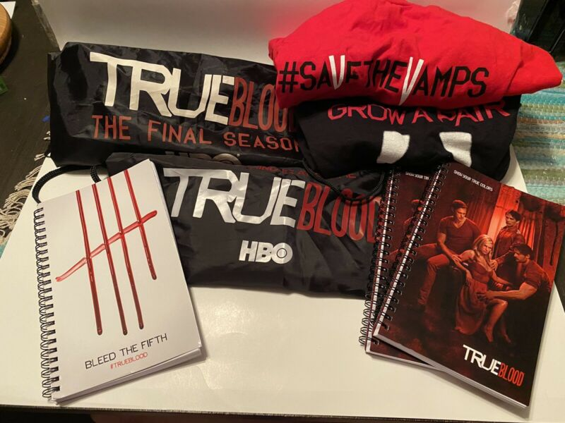 SDCC True Blood Save The Vamps Grow A Pair Shirts & Notepads & Drawstrings Bags
