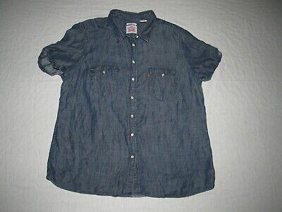 Levi's Women's Blue Denim Chambray Snap Button Up Western Shirt Size Xl