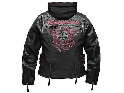 Harley Davidson Womens SCROLL WillieG SKULL Leather Jacket 3in1 S XL 98104-16VW