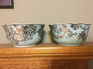 222 fifth Adelaide Turquoise gold soup cereal bowls lot of 2 New