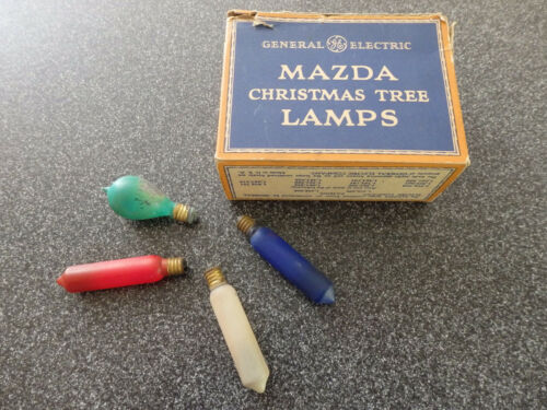 3 Vtg Christmas Mazda Luminous Candle Flame Bulbs They WORK C6 + 1 Rounded light