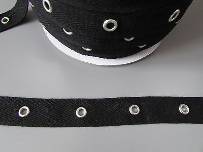 """Black Twill Eyelet Trim/Tape 2cm 3/4""""  Sewing/Costume/Crafts/Corsetry/Punk"""