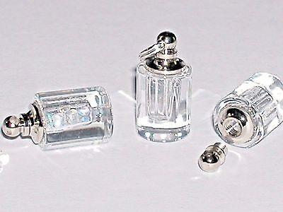 1 facet Clear Cylinder vial necklace pendant sm mini glass bottle Screw cap 20mm (Bottle Cap Necklace)