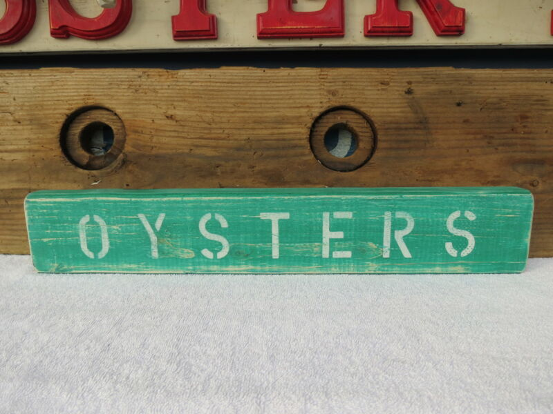 21 INCH WOOD HAND PAINTED OYSTERS SIGN NAUTICAL MARITIME SEAFOOD (#S412)