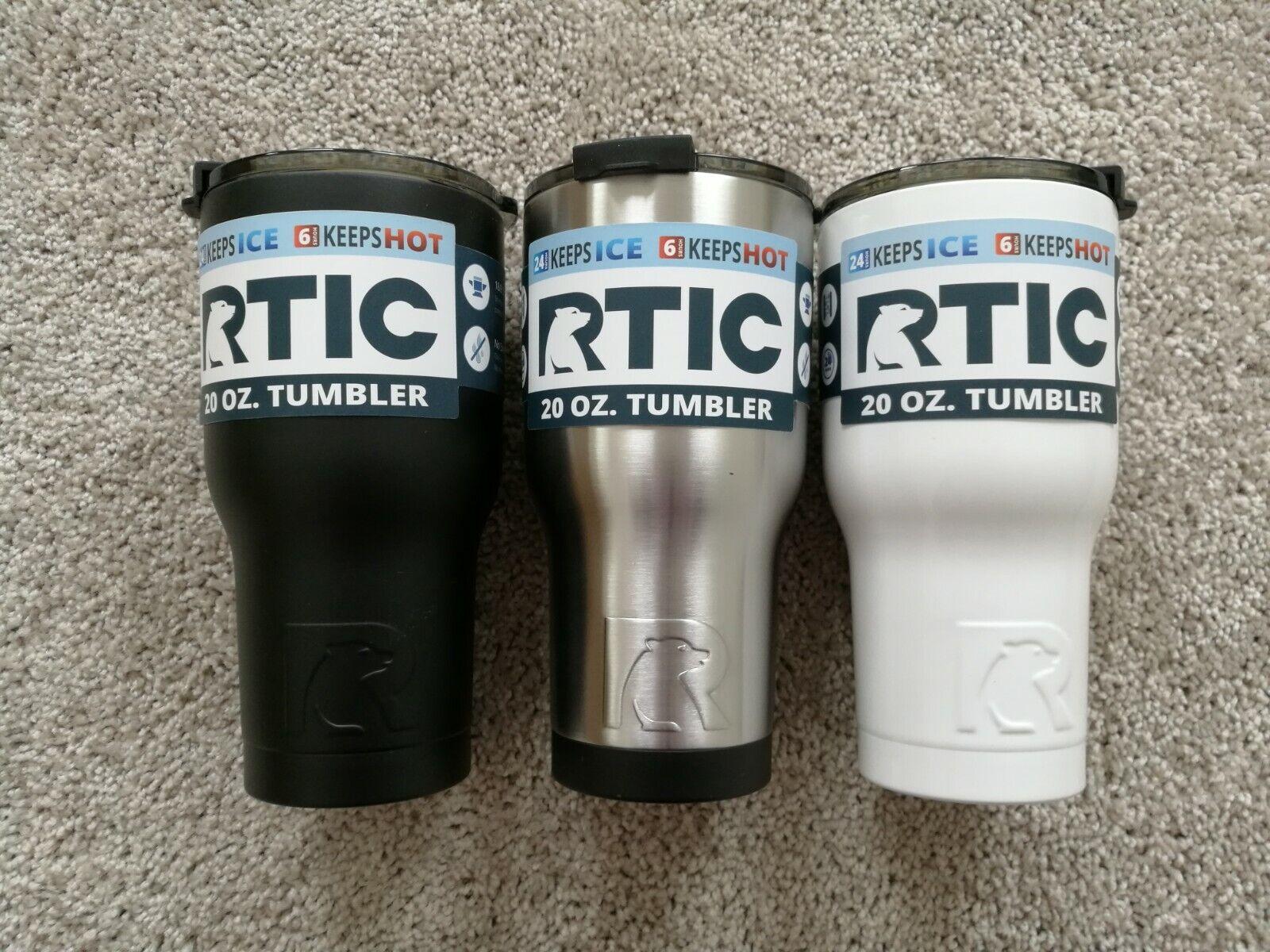 NEW RTIC 20oz Tumbler - Stainless/ Black/ White