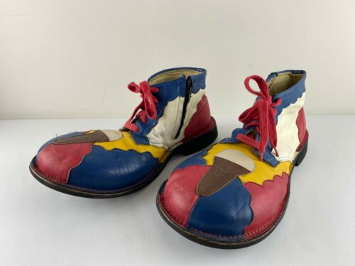 Vintage Professional Leather Circus Clown Shoes, Red White Blue Yellow, Size 8D