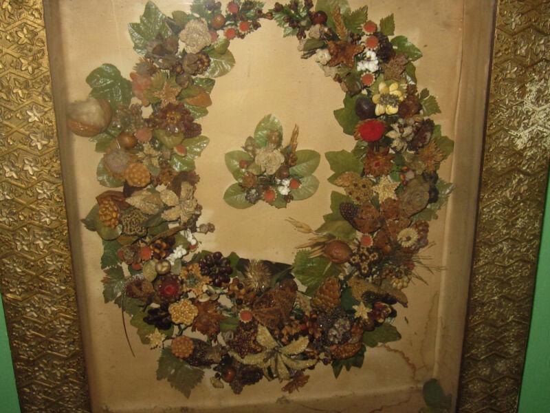 Antique Diorama Fine Victorian Wax Fruit in  Gilt Shadow Box Frame