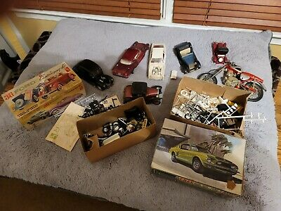 LOT OF ASSORTED PLASTIC MODEL CAR PARTS AMT mustang boxes motorcycle and more