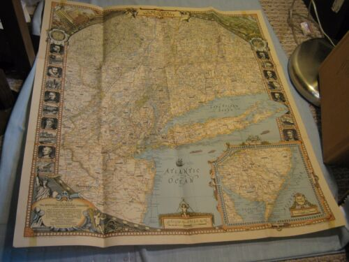 ANTIQUE THE REACHES OF NEW YORK CITY MAP National Geographic April 1939