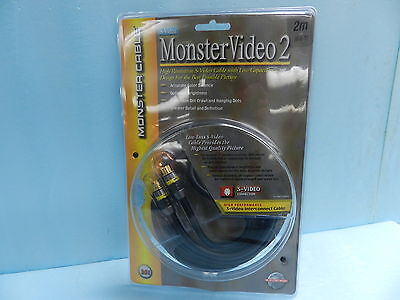 NEW MONSTER VIDEO 2, HIGH RESOLUTION. S-VIDEO CABLE 2m, 6.6ft, 24K GOLD PLATED  - $23.99
