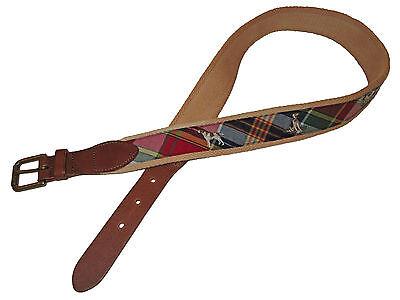 Pointer Leather Belt (Polo Ralph Lauren Madras Trim Pointer Hunting Dog Southern Leather Brass Belt)