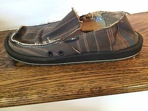 Sanuk Brown Canvas Distressed Striped Loafer Shoes