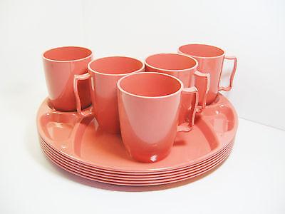 Plas-Tex 5 Cups & 6 Divided Trays Retro Plastic Persimmon Picnic Set