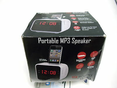 Supersonic IQ-1303 White Alarm Clock Radio for iPod & iPhone with 1.2 Display