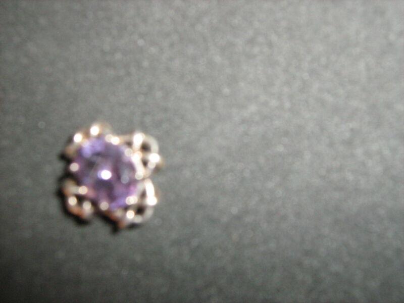 "Purple Amethyst .925 silver ""slide"" wear with chain or cord .75"" diameter"