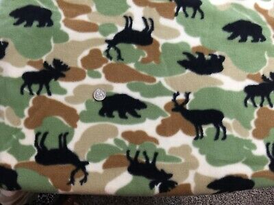 Polar Fleece Fabric remnant camouflage black bear deer elk 28.5
