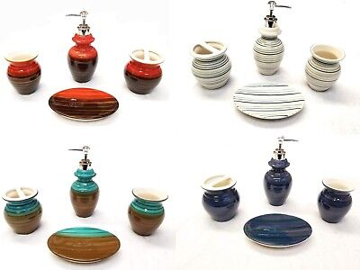 Ceramic Bathroom 4 Piece (4 Piece Elegant Ceramic Bathroom Accessory Set - Modern New)