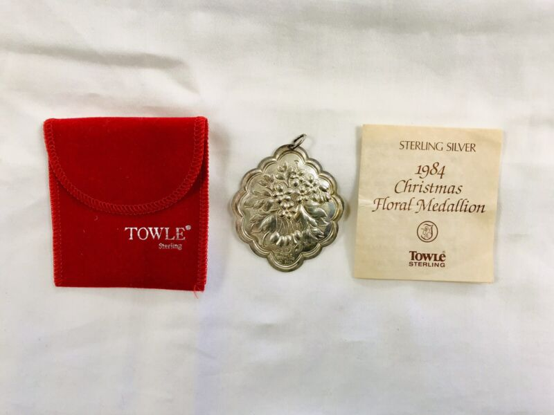 Towle Sterling Silver 1984 Christmas Floral Medallion/Ornament
