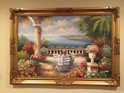 The Garden by the Sea -24x36 with frame - Free Shipping