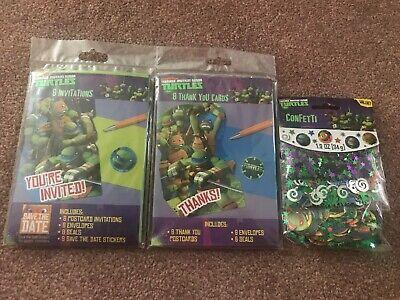 Teenage Mutant Ninja Turtles TMNT Party Invitations/ Thank You Cards + Confetti