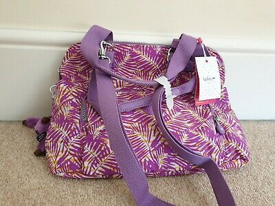 Kipling Handbag Taube Medium Jungle Print PURPLE Brand New with Tags