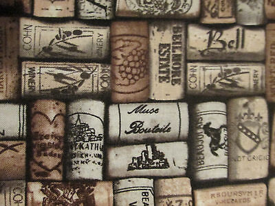 CORKS WINE CORK NAMES NATURAL DARK COTTON FABRIC FQ - Dark Natural Fabric