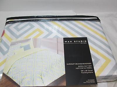 3 pcs MAX STUDIO Home Yellow, Grey and White King Duvet