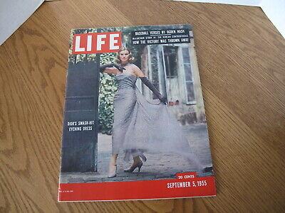 Vintage Life Magazine Sept. 1955 Dior Evening Dress Fashion Cover Newsstand -