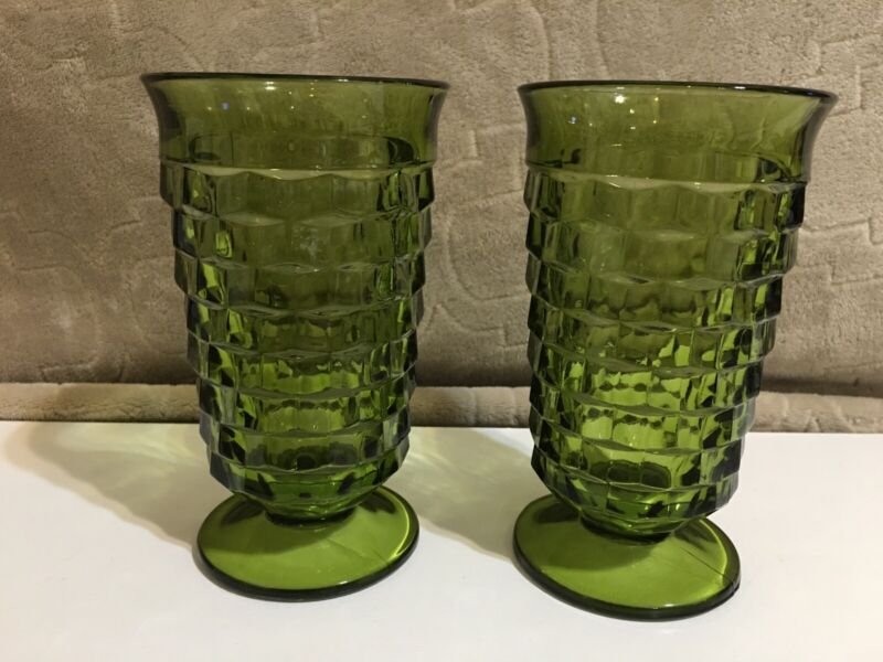 2 - Indiana Water Glasses Avocado Green Glasses Fostoria Whitehall Cubist Footed