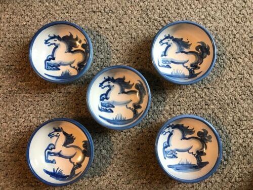"M. A. Hadley Pottery  5.5""  Stoneware Cereal /Soup Bowl. Blue Horse Motif."