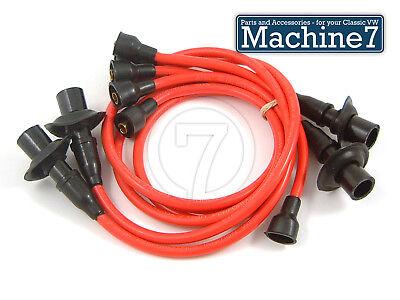 Classic VW Beetle Engine Ignition Spark Plug HT Leads RED -1600cc T2 Camper Bug