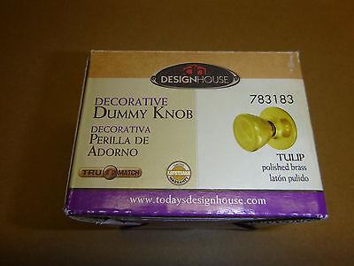 Design House 783183 Tulip Dummy Door Knob with 2-Way Latch Polished Brass Finish Designer Brass Dummy Door