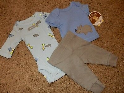 NWT Preemie 5lb Carter's 3pc RHINO Outfit Set Long Sleeve Bodysuit Shirt & Pants