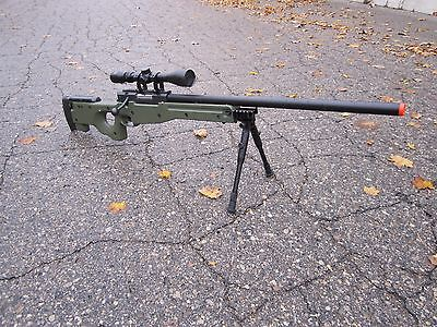 One AIrSoft Green WELL Tactical L96 AWP Airsoft Sniper Rifle W/ Scope + Bipod for sale  Troy