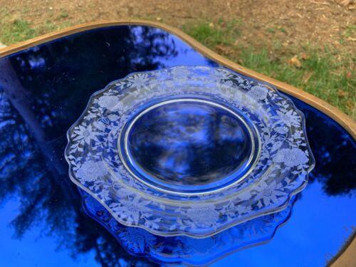 "Cambridge Wildflower Set 4 Elegant Depression 7"" Plates Salad / Dessert PRISTINE"