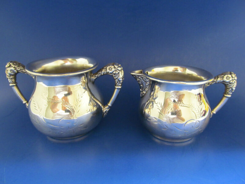 Silver Plated Repousse Sugar & Creamer New Amsterdam