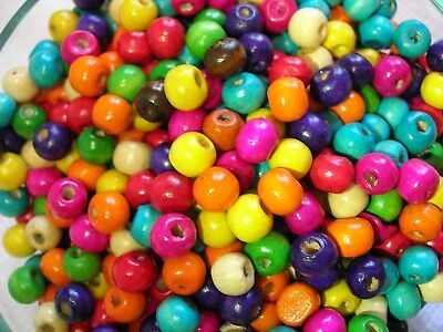 SET OF 400 Color Wooden Glossy Crafting Beads 8mm Round Macrame Ships from USA - Bead Sets